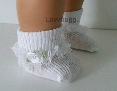 """2 PAIRS White Socks w Lace for American Girl 18/"""" Bitty 15/""""  Doll Clothes Preemie"""