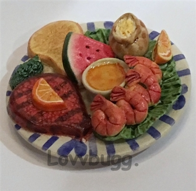 Steak and Shrimp Plate American Girl Doll Food Accessory
